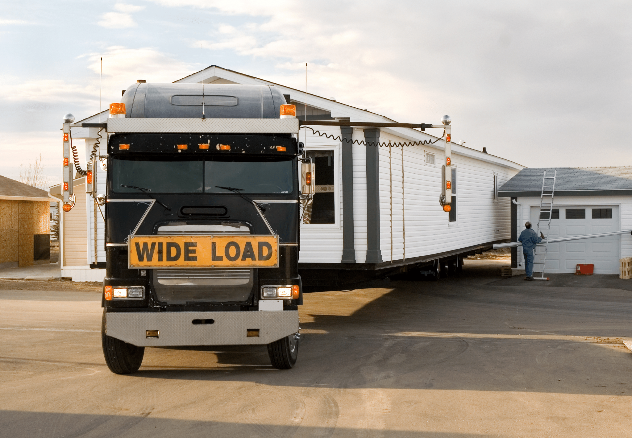 A mobile home being moved